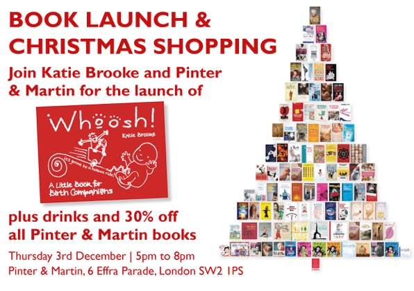Flyer design for London book launch of Whoosh - a little book for birth companions